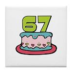 67th Birthday Cake Tile Coaster