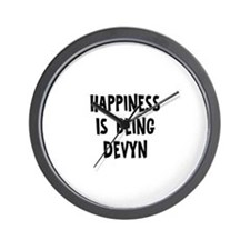 Happiness is being Devyn Wall Clock