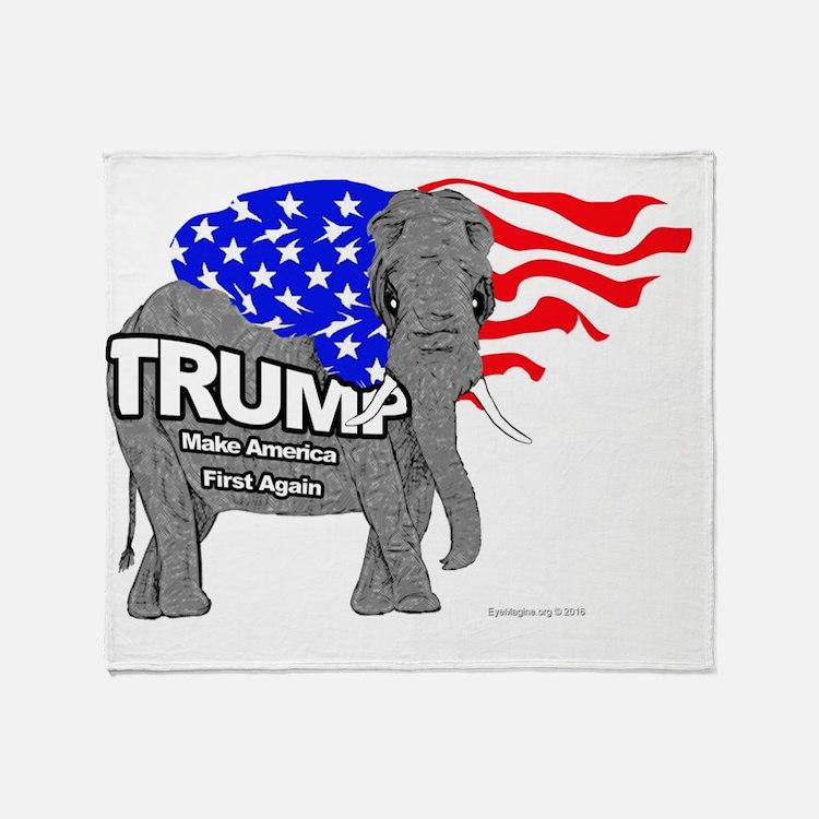 Cute Republican elephant Throw Blanket