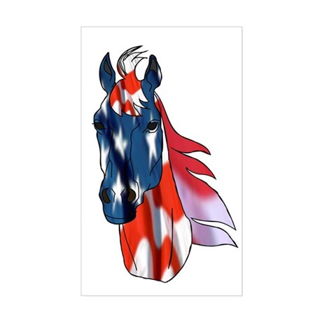 Old Glory Horse Rectangle Sticker