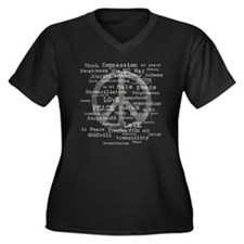 Peace Symbol Women's Plus Size V-Neck Dark T-Shirt