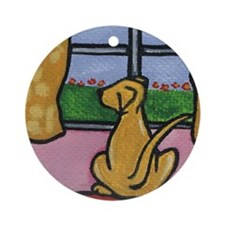 Yellow Lab at Window Ornament (Round)