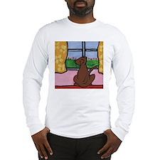 Chocolate Lab at Window Long Sleeve T-Shirt