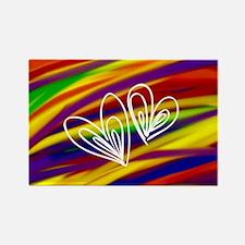 Gay hearts rainbow art Magnets