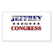 JEFFREY for congress Rectangle Decal
