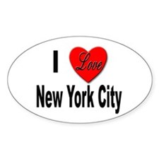 I Love New York City Oval Decal