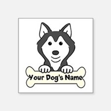 "Personalized Husky Square Sticker 3"" x 3"""