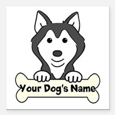 """Personalized Husky Square Car Magnet 3"""" x 3"""""""