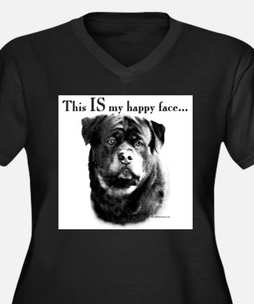 Rottweiler Happy Face Plus Size T-Shirt