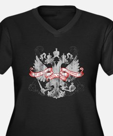 Russian Eagle Women's Plus Size V-Neck Dark T