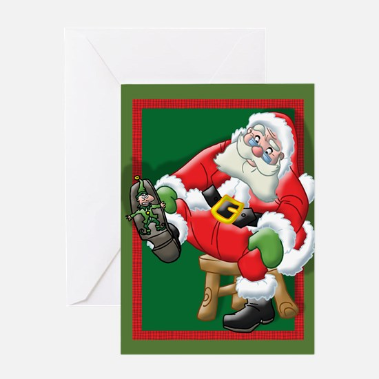 Santa is stepping on the Elfs Greeting Card