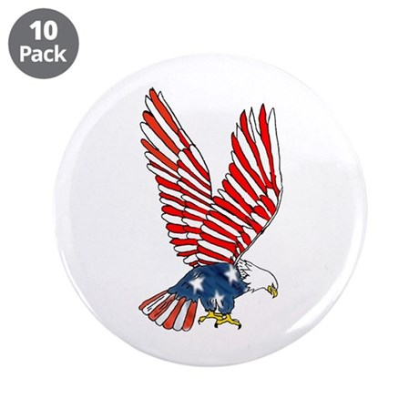 "Patriotic Eagle 3.5"" Button (10 pack)"