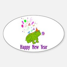 New Years Frog Oval Decal