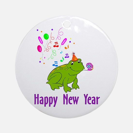 New Years Frog Ornament (Round)