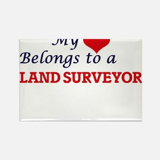 My heart belongs to a Land Surveyor Magnets