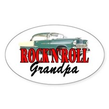ROCK'N'ROLL GRANDPA Oval Decal