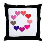 Circle of Rainbow Hearts Throw Pillow