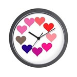 Circle of Rainbow Hearts Wall Clock