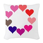 Circle of Rainbow Hearts Woven Throw Pillow
