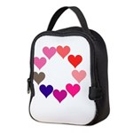 Circle of Rainbow Hearts Neoprene Lunch Bag