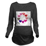 Circle of Rainbow Hearts Long Sleeve Maternity T-S