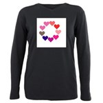 Circle of Rainbow Hearts Plus Size Long Sleeve Tee