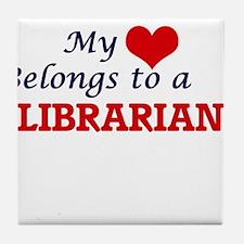 My heart belongs to a Librarian Tile Coaster