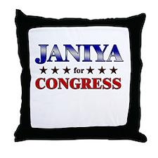 JANIYA for congress Throw Pillow