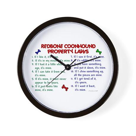 Redbone Coonhound Property Laws 2 Wall Clock