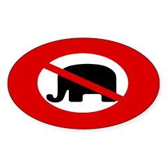 Red Slash Through Elephant (oval sticker)