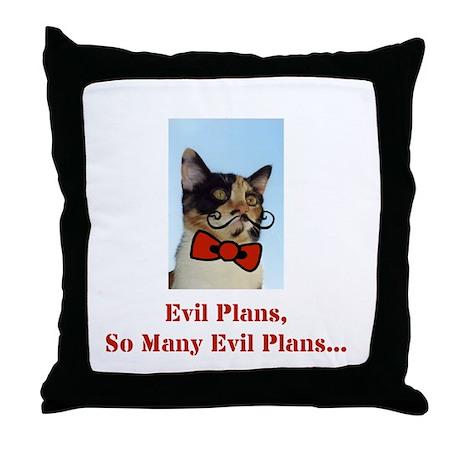 Evil Plans Cat Throw Pillow