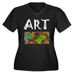 ART, Women's Plus Size V-Neck Dark T-Shirt