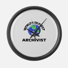 World's Okayest Archivist Large Wall Clock