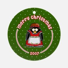 Mrs. Claus Penguin Ornament (Round)