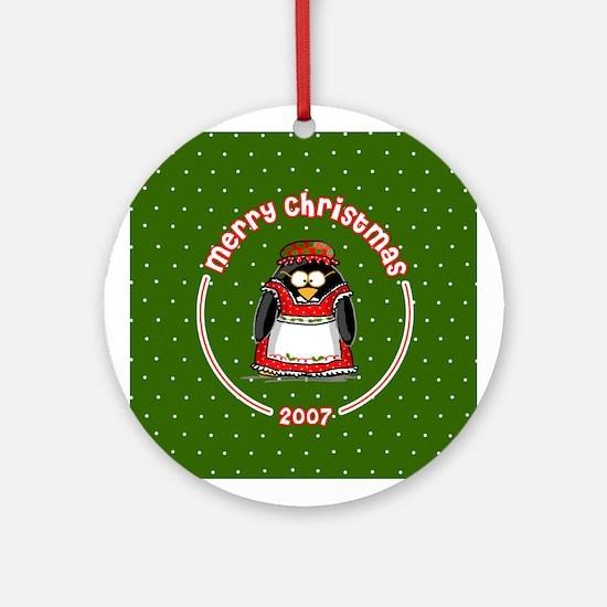 Mrs. Claus Penguin Ornament (Round)