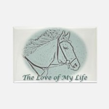 White Horse Love Rectangle Magnet