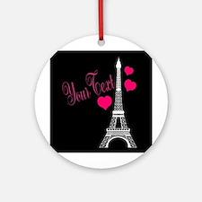Paris France Eiffel Tower Round Ornament