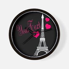 Paris France Eiffel Tower Wall Clock