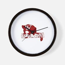 Red Lemur Wall Clock