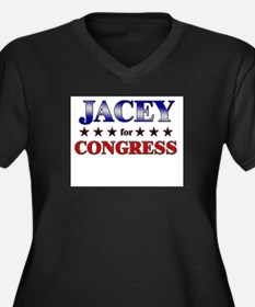 JACEY for congress Women's Plus Size V-Neck Dark T