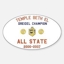 Dreidel Champion Oval Decal
