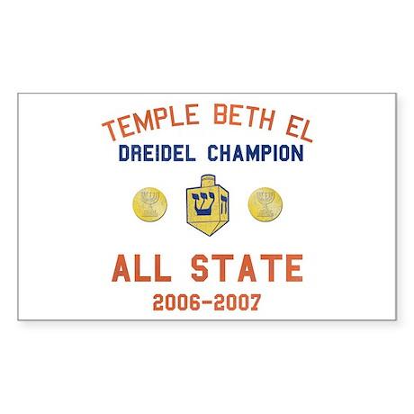 Dreidel Champion Rectangle Sticker