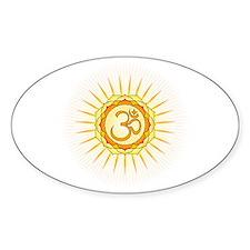 Om Lotus Sunburst Oval Decal