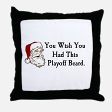 Santa's Playoff Beard Throw Pillow