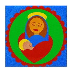 Madonna and Child Tile Coaster