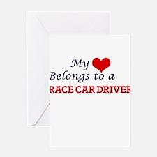 My heart belongs to a Race Car Driv Greeting Cards