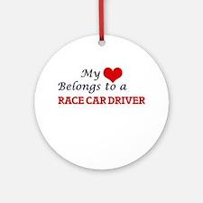 My heart belongs to a Race Car Driv Round Ornament