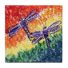 Rainbow Dragonflies Tile Coaster