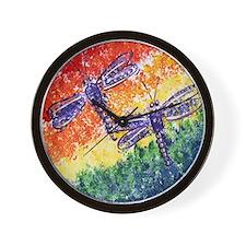 Rainbow Dragonflies Wall Clock