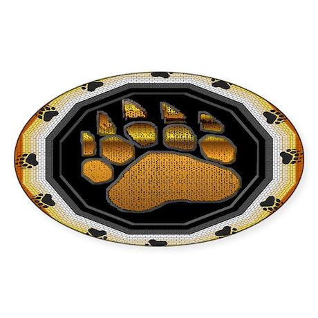 BEAR PAW IN BEAR PRIDE DESIGN Oval Sticker